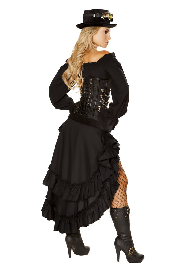 4856 - Roma Costume 6pc Black Victorian Steam Maiden Pirate SteamPunk