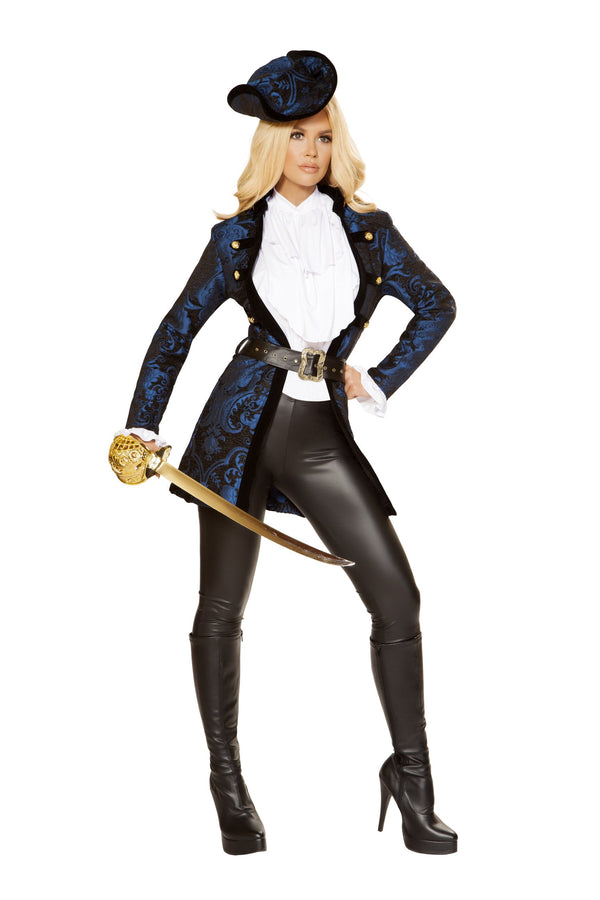 4860 - Roma Costume 5pc Swashbuckling Pirate Beauty Blue Black White