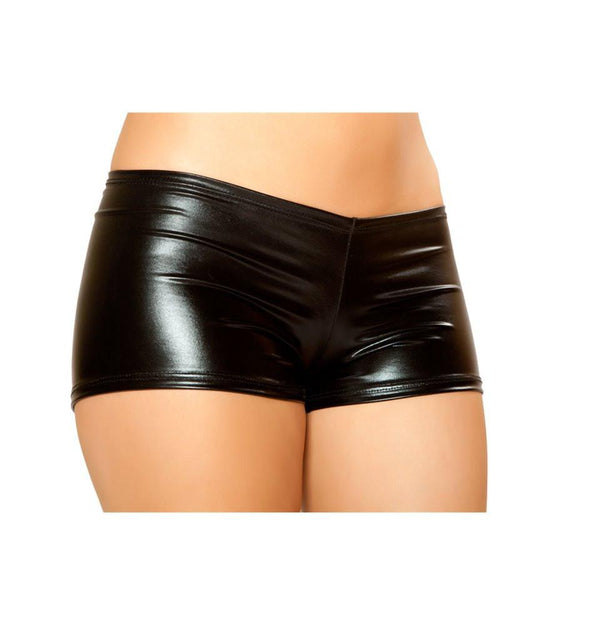 SHLQ229-Blk - Pucker Back Metallic Short - Black - Roma Costume Shorts - 1