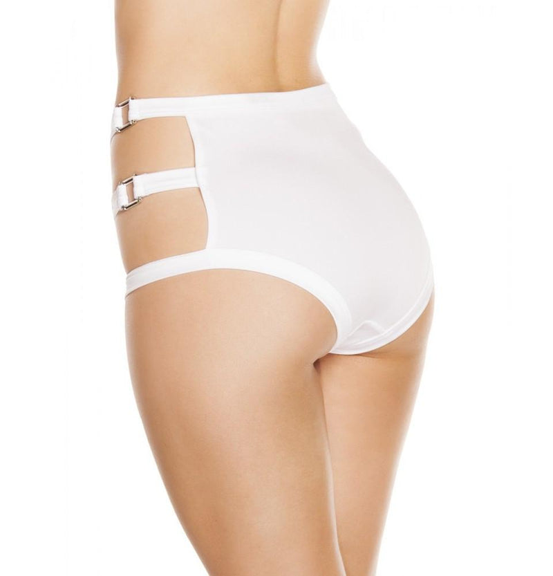 SH3194 - White - High-Waisted Shorts with Triple Strap & Square Ring Detail - Shorts - Roma Costume New Products,New Arrivals,Shorts - 2