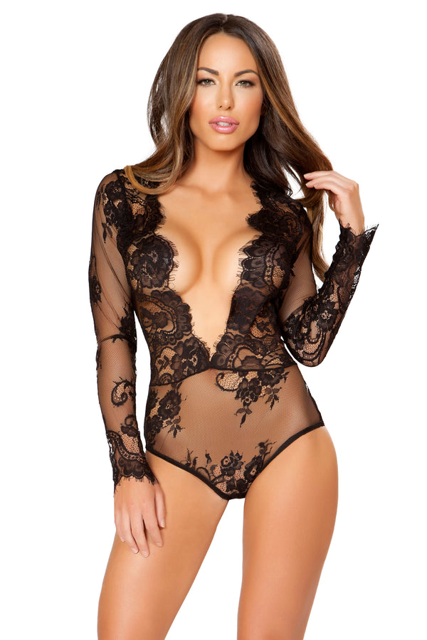 1pc Long Sleeved Teddy with Open V-Shaped