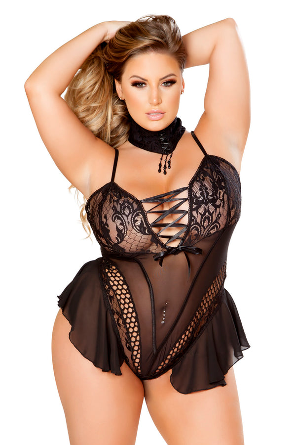 Plus Size Elegant Teddy with Attached Sheer Skirt