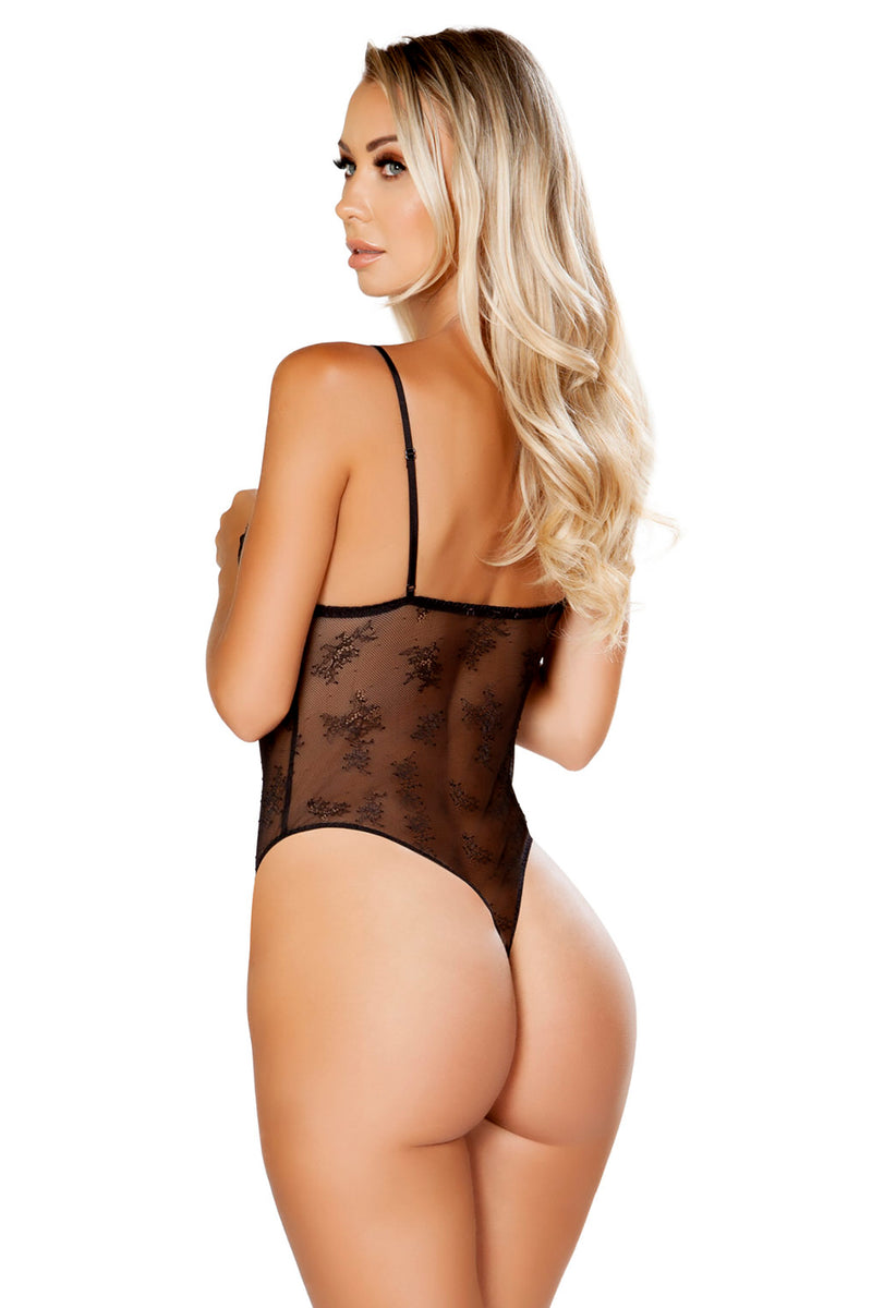 Lace & Satin Teddy with Snap Bottom