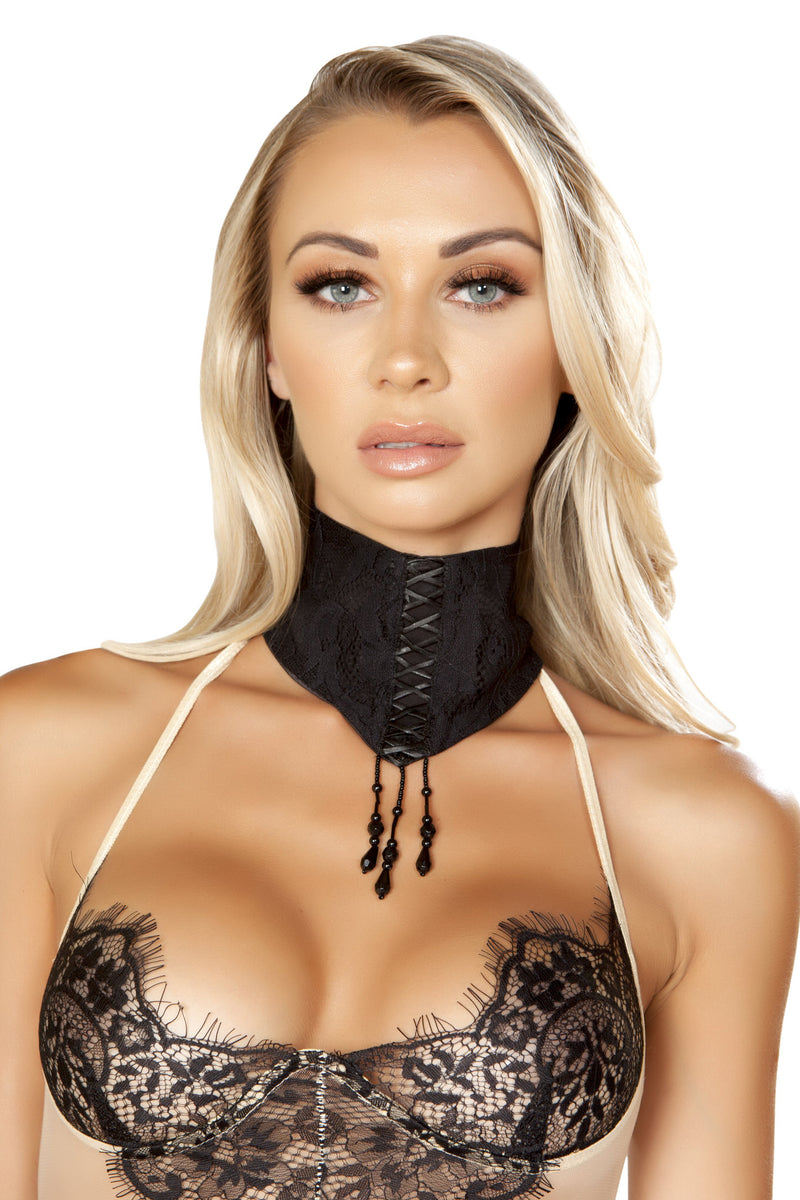 Lace Choker with Lace-Up Detail & Dangling Beads