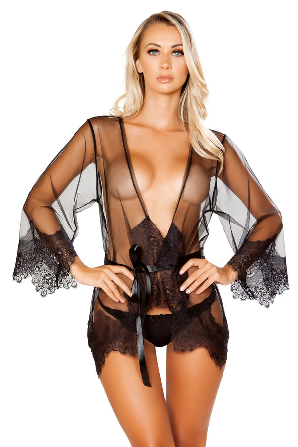 Sheer Robe with Eyelash Detail & Satin Tie