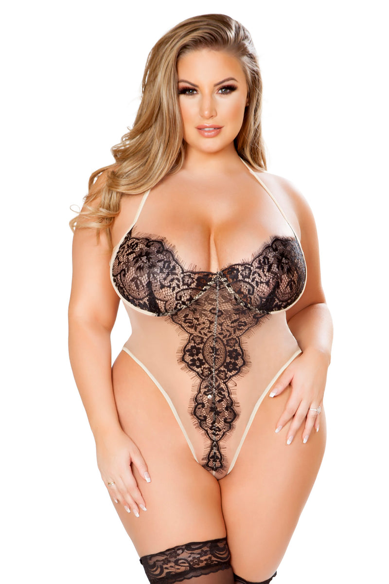 Plus Size Elegant Sheer Eyelash Teddy