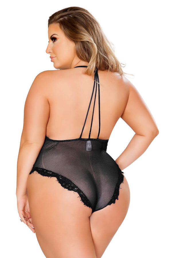 Plus Size V-Shaped Eyelash Lace & Satin Teddy
