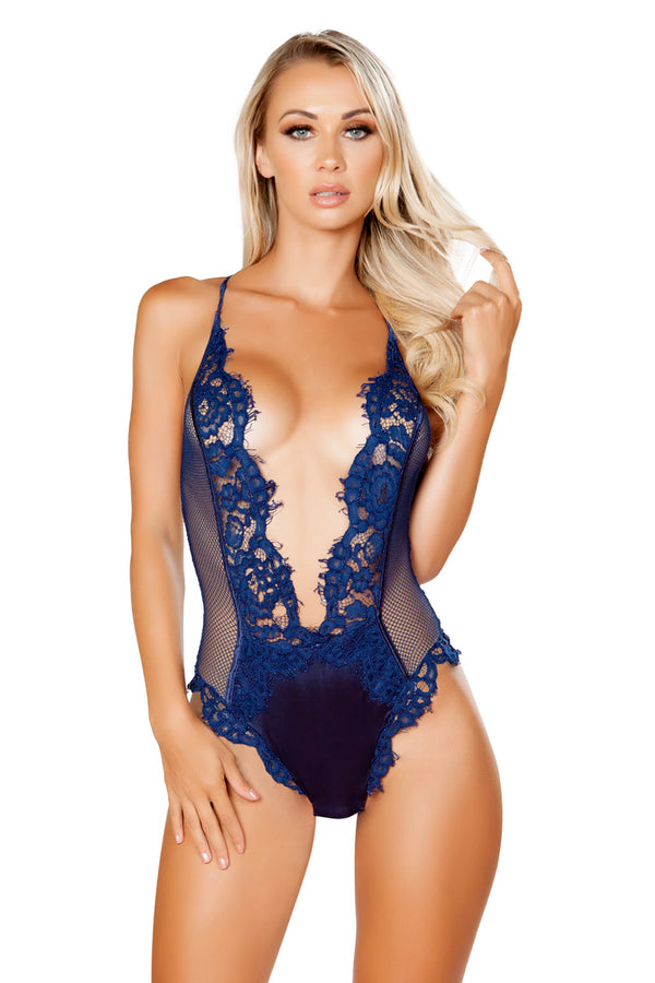 V-Shaped Eyelash Lace & Satin Teddy