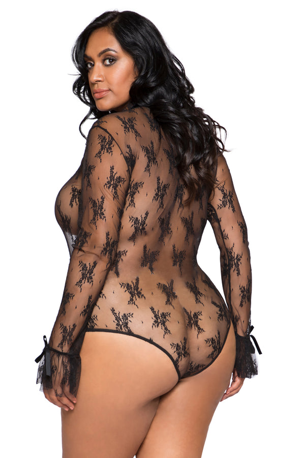 Plus Size Elegant Long Sleeved Keyhole Teddy