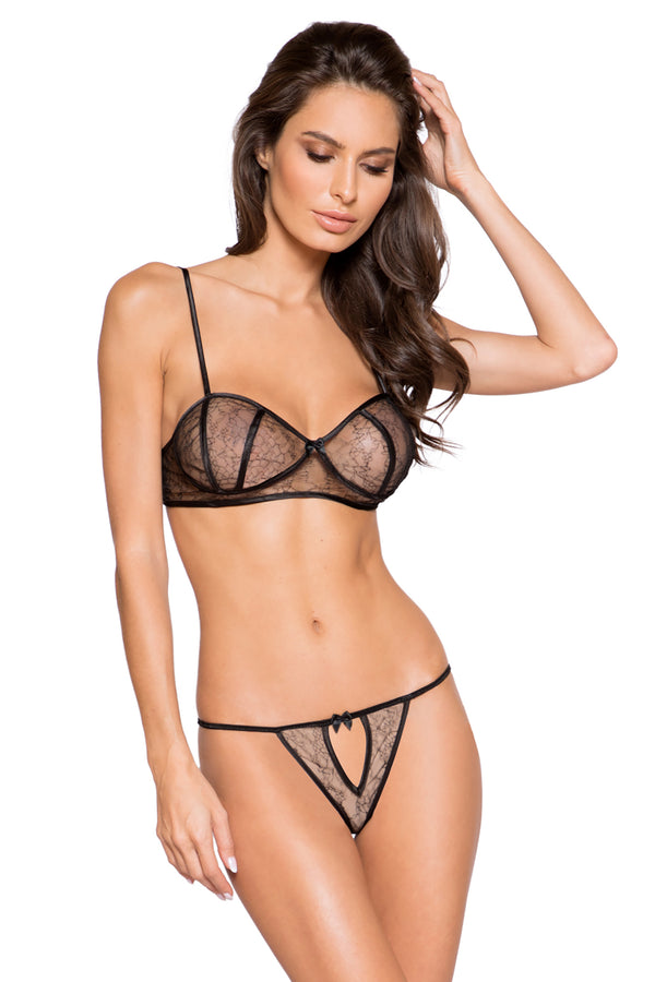 elegant Lace Two Piece Set with Satin Detail & Keyhole Panty