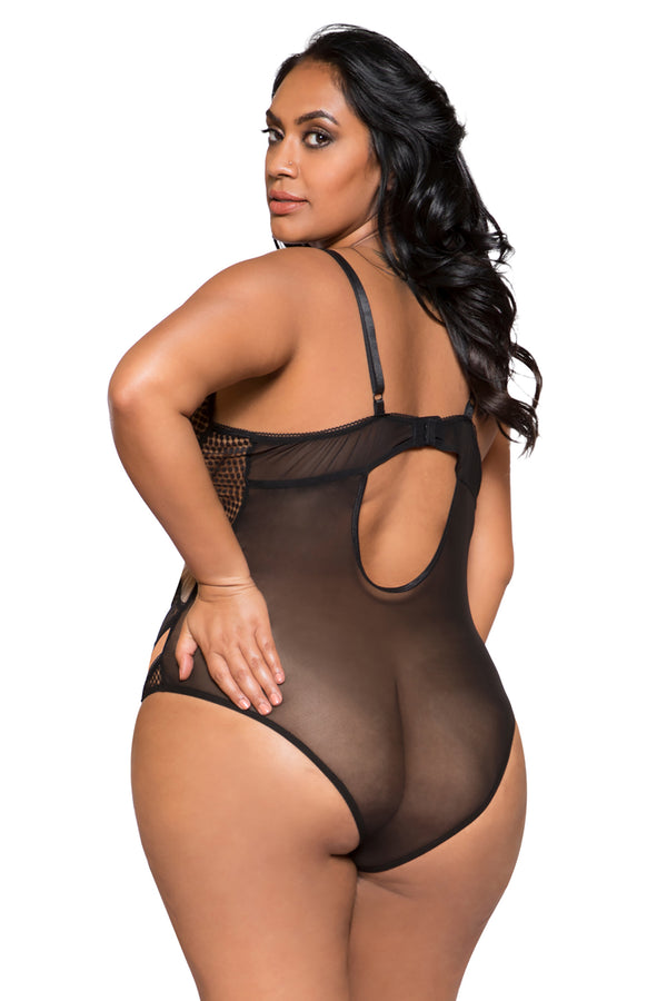 Plus Size Two-Tone Multiple Cross Bodysuit