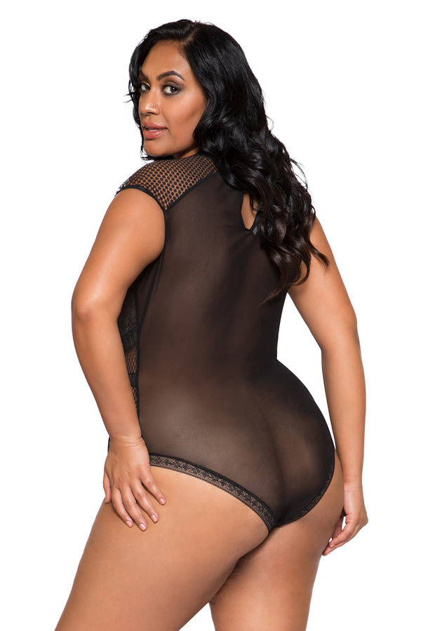 Plus Size Cap Sleeve Keyhole Bodysuit with Snap Bottom