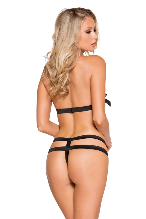 2pc Wide Strap Bra Set with Open Crotch & Bow Detail on Top