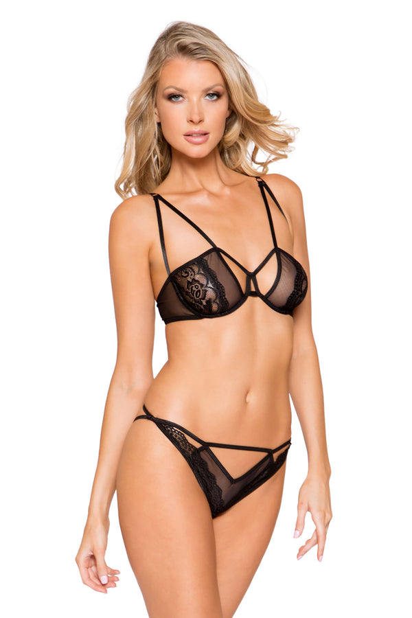 Sheer Mesh & Lace Bra Set with Cutout Details