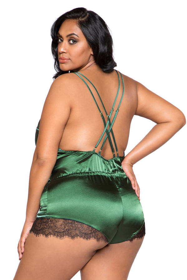 Plus Size Elegant Eyelash Lace & Satin Bodysuit