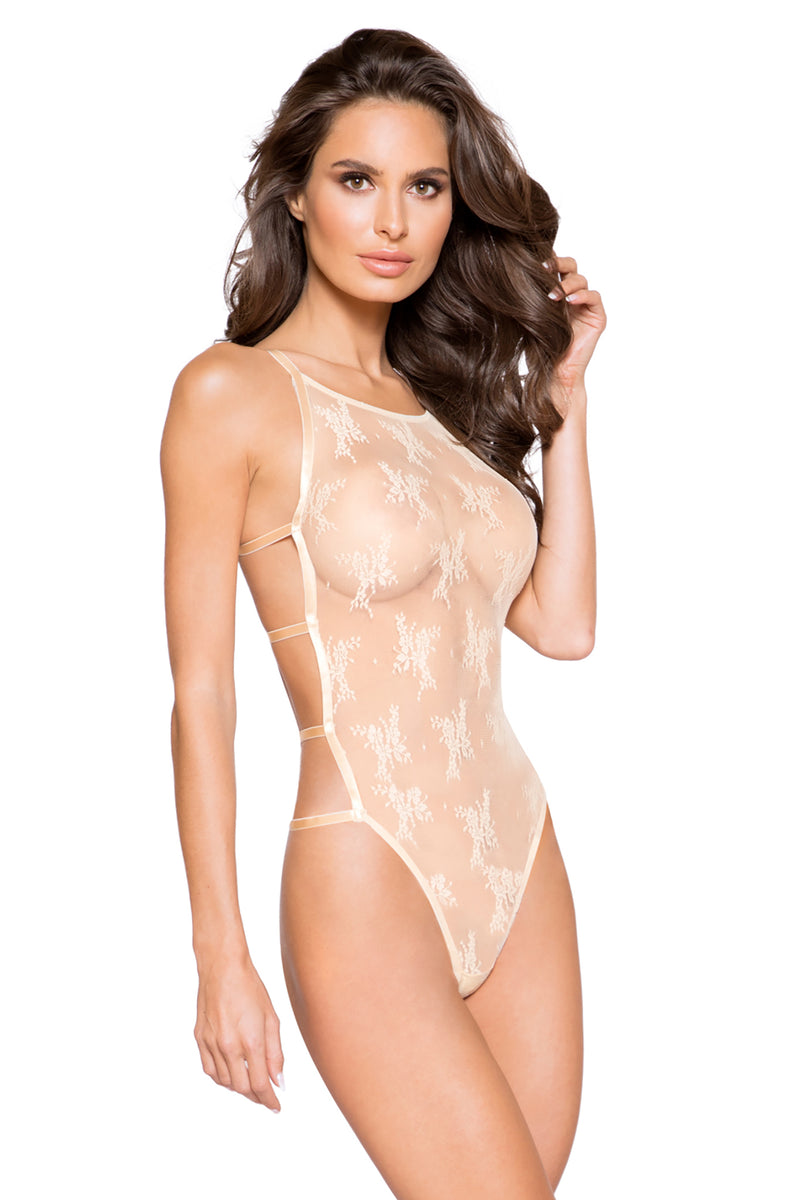 Classic Full Front Cover Lace Teddy with Back Strap Details