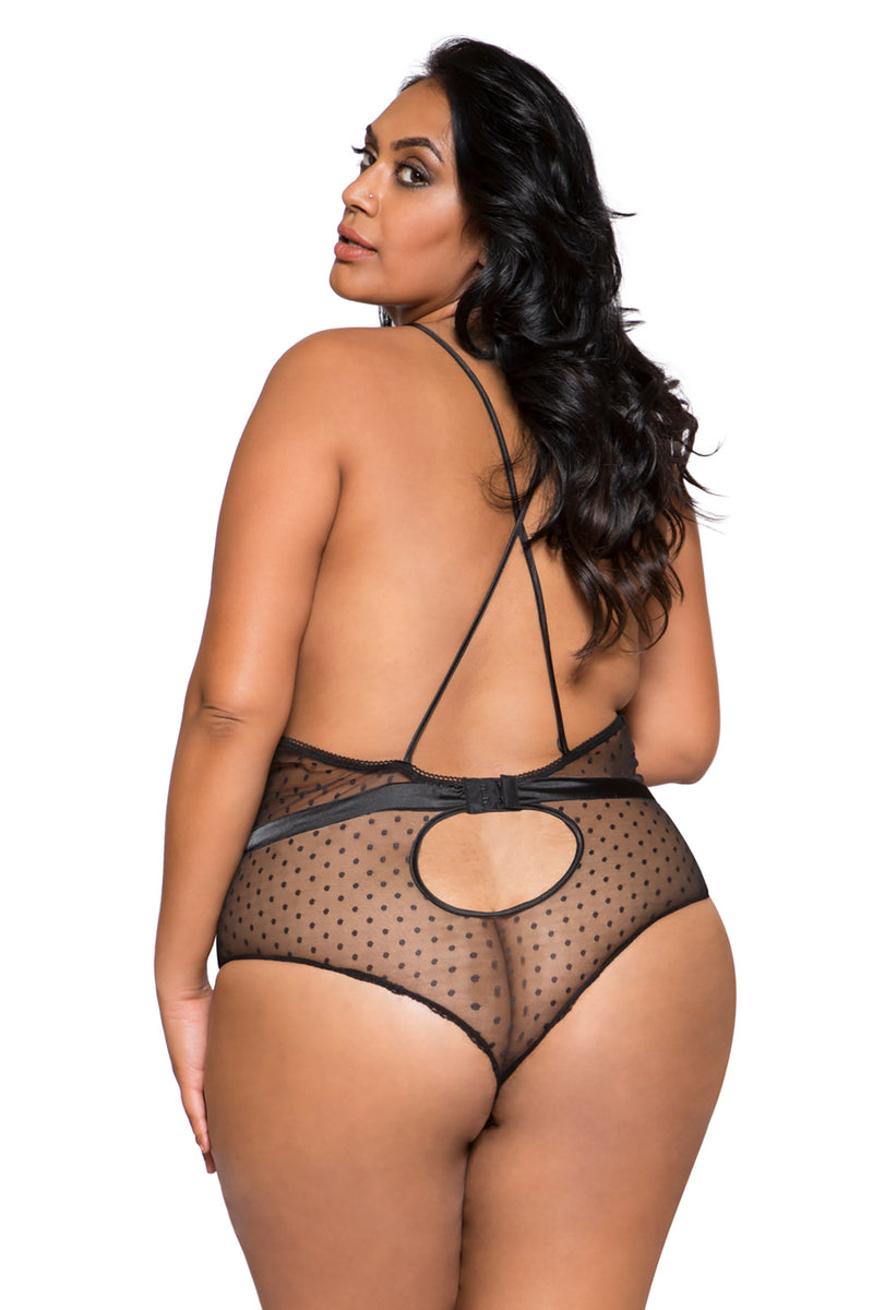Plus Size Satin & Lace Teddy with Snap Bottom