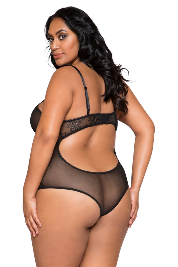 Plus Size Sheer Lace & Mesh Bodysuit