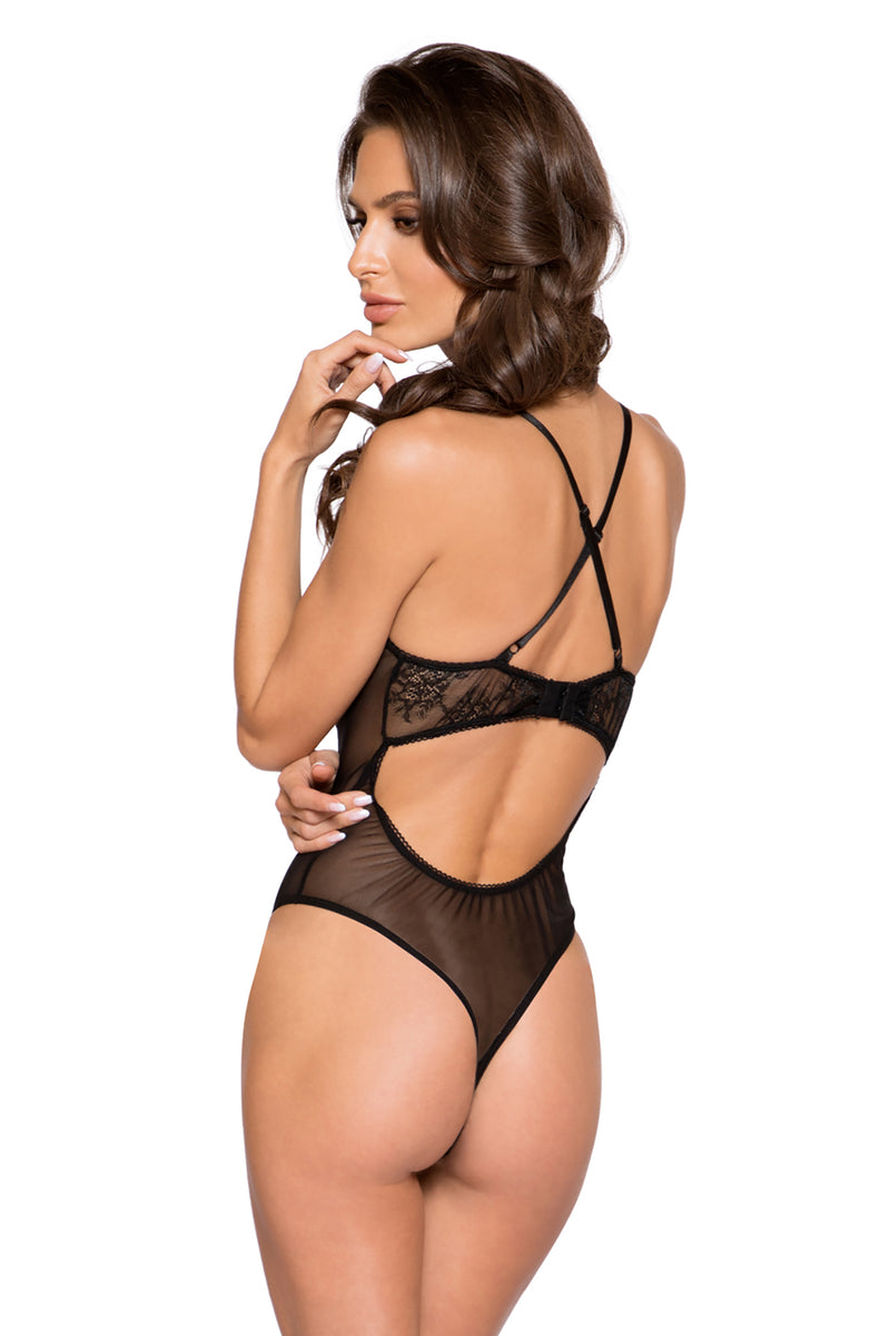 Sheer Lace & Mesh Bodysuit with Lace-Up Detail & Snap Bottom