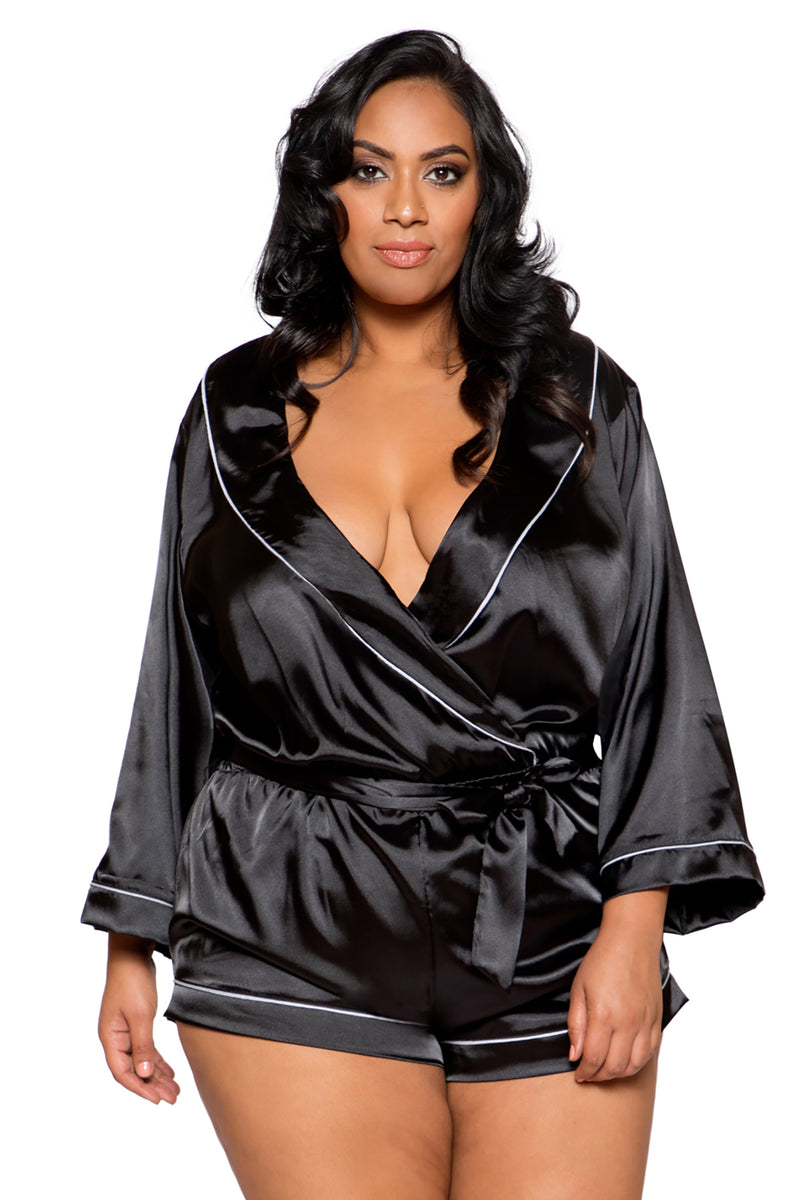 Plus Size Chic Cozy Collared Satin Bodysuit with Tie