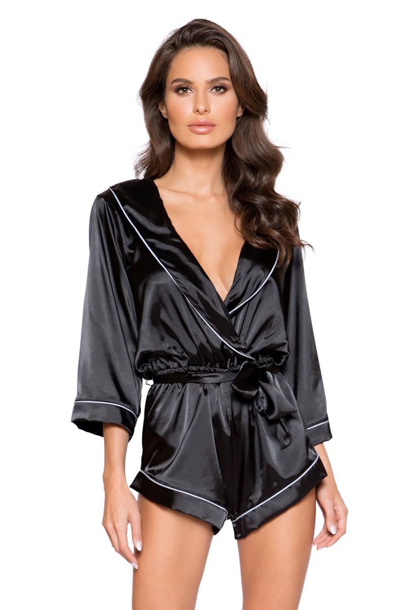 Chic Cozy Collared Satin Bodysuit with Tie