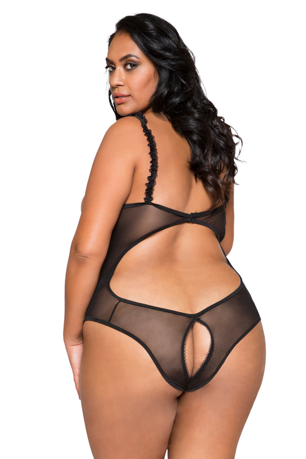 Plus Size 1pc Teddy with Cutout Top