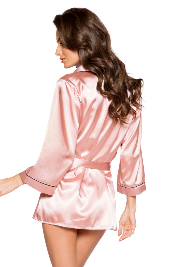 Elegant Satin Collared Robe with Tie & Button Closure