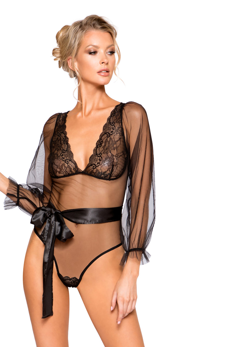 Elegant Sheer Mesh & Lace Teddy with Flair Sleeve and Optional Satin Tie