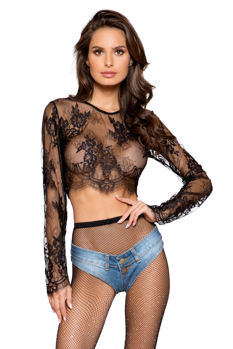 Long Sleeved Eyelash Lace Crop Top