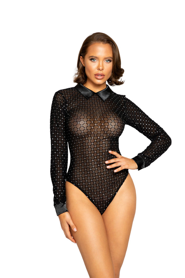 Night Closet Lingerie Glittered Diamond Teddy with Collar Detail