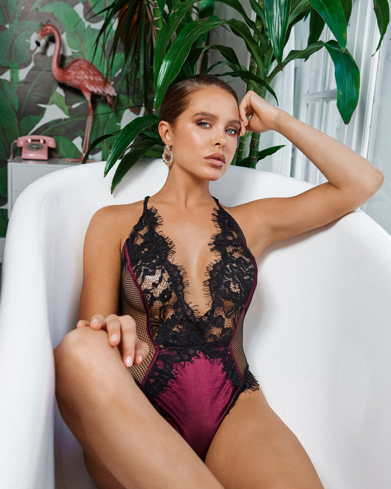 Eyelash Embroidered Lace & Satin Teddy