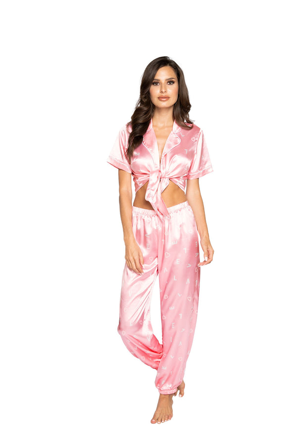 Night Closet Lingerie LOVE Satin Pajama Set. Includes Collared Tie Top & Pants