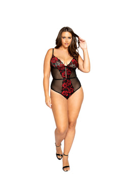 Night Closet Lingerie Floral Lace & Mesh Teddy with Lace-Up Trim