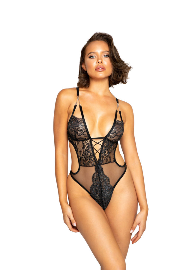 Night Closet Lingerie Glittered Teddy with Chain Detail