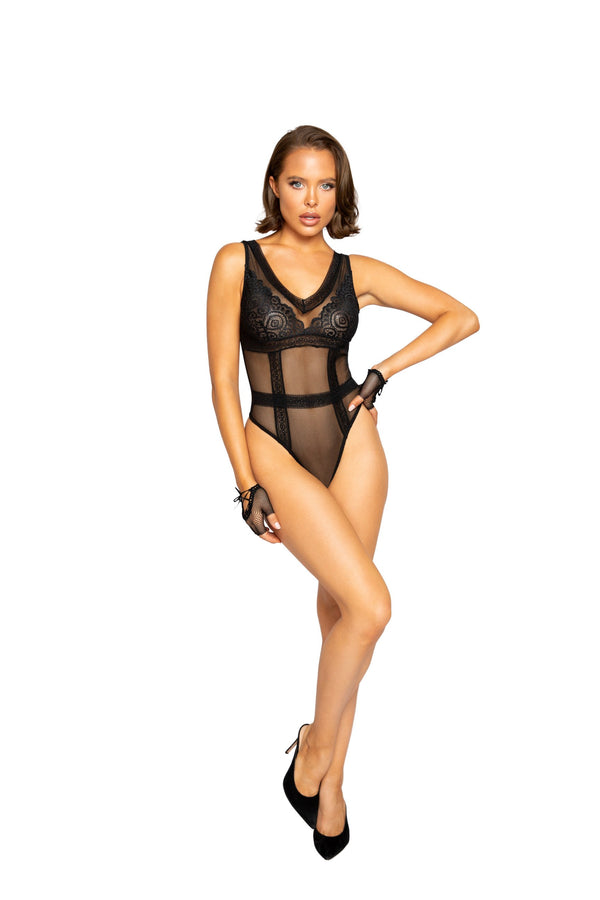 Night Closet Lingerie Lace & Mesh Teddy with Waist Trim Detail