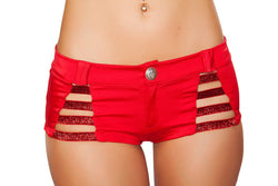 SH3326 - Shorts with Shiny Straps and Button Front Detail