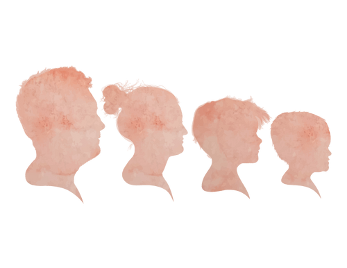 Four Watercolor Silhouette Group