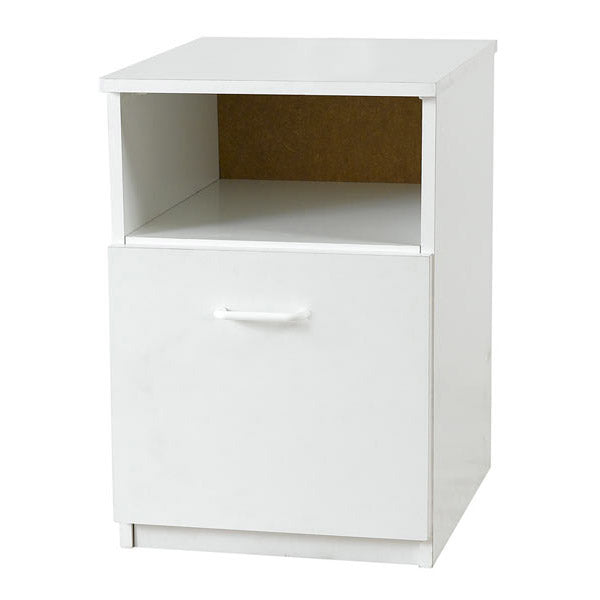 Elemental White 1 Door Bedside