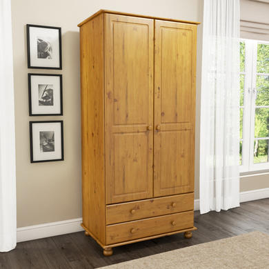 Pine 2 Door 2 Drawer Wardrobe