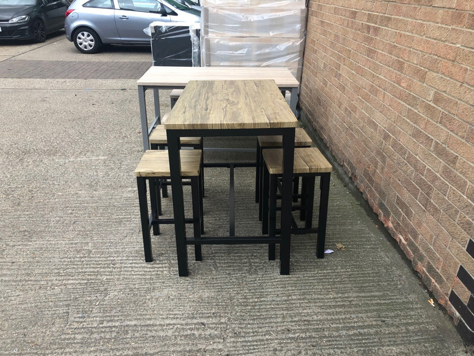 Ellson Bar Set Rustic  Oak Top and Black Metal Legs