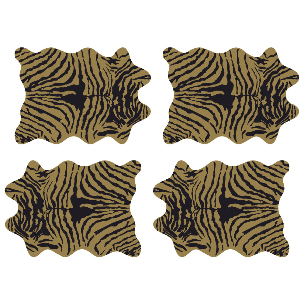 Set de 24 Individuales Papel Kraft, 32x45 cm. Animal Print ZEBRA AMARILLA