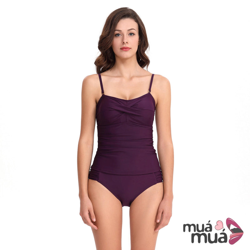 c0af850dde6f3 Women's Ruched Bandeau Two Piece Bathing Suits Tummy Control Tankini  Swimsuits with Bikini Bottom ...
