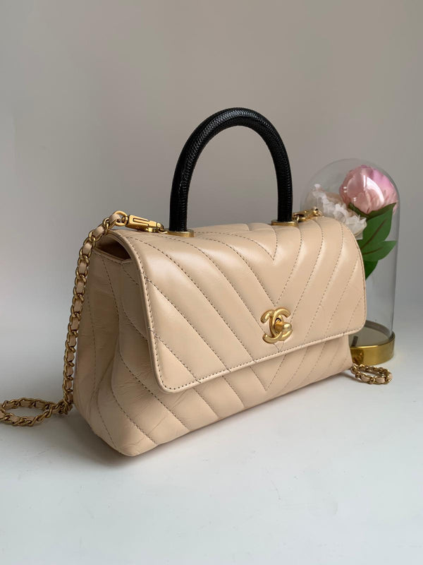 Chanel Coco Handle Chevron Beige