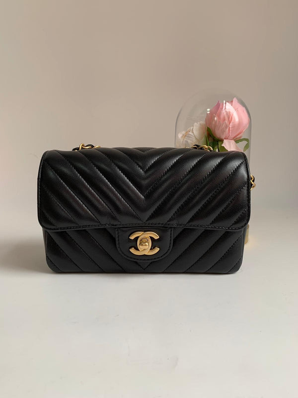 Chanel Chevron Mini Rectangular Black Flap Bag