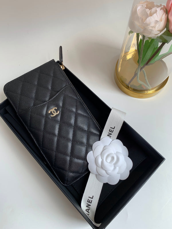 Chanel Phone Pouch Holder Black Gold Hardware