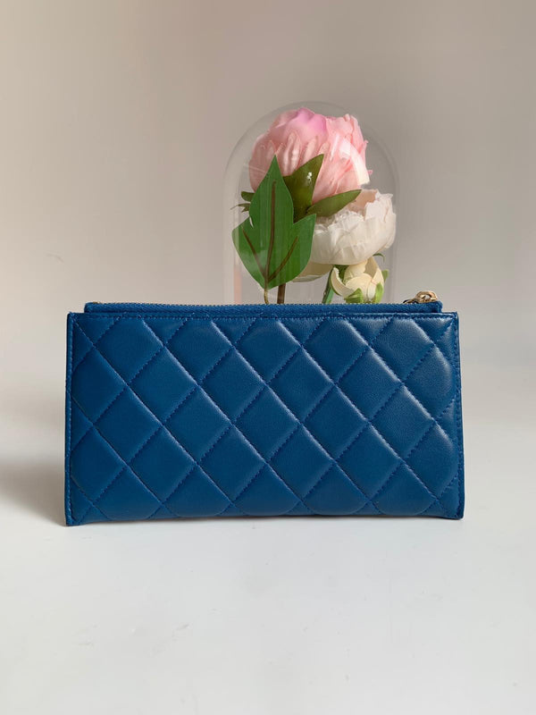 Chanel Blue Long Pouch Wallet