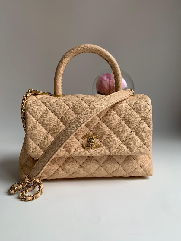 Chanel Beige Coco Handle Mini Flap Bag