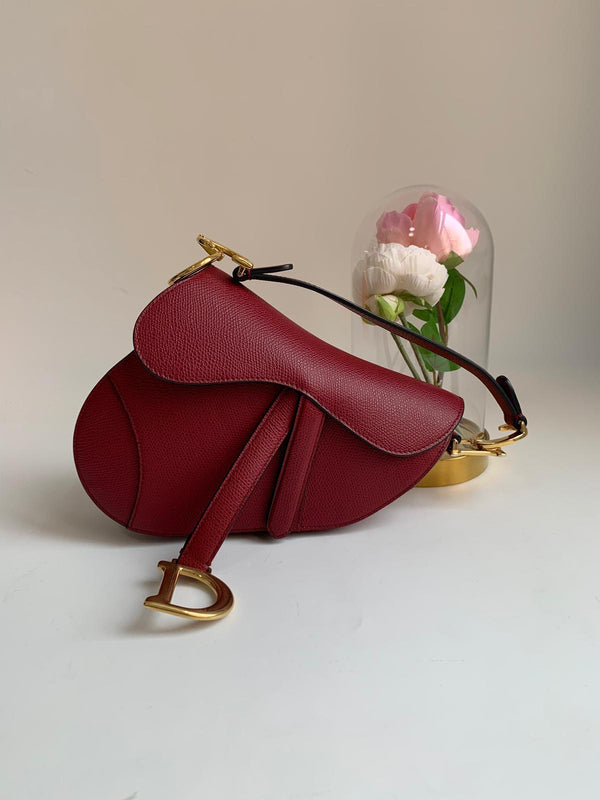 Dior Saddle Bag Grained Calfskin Burgundy