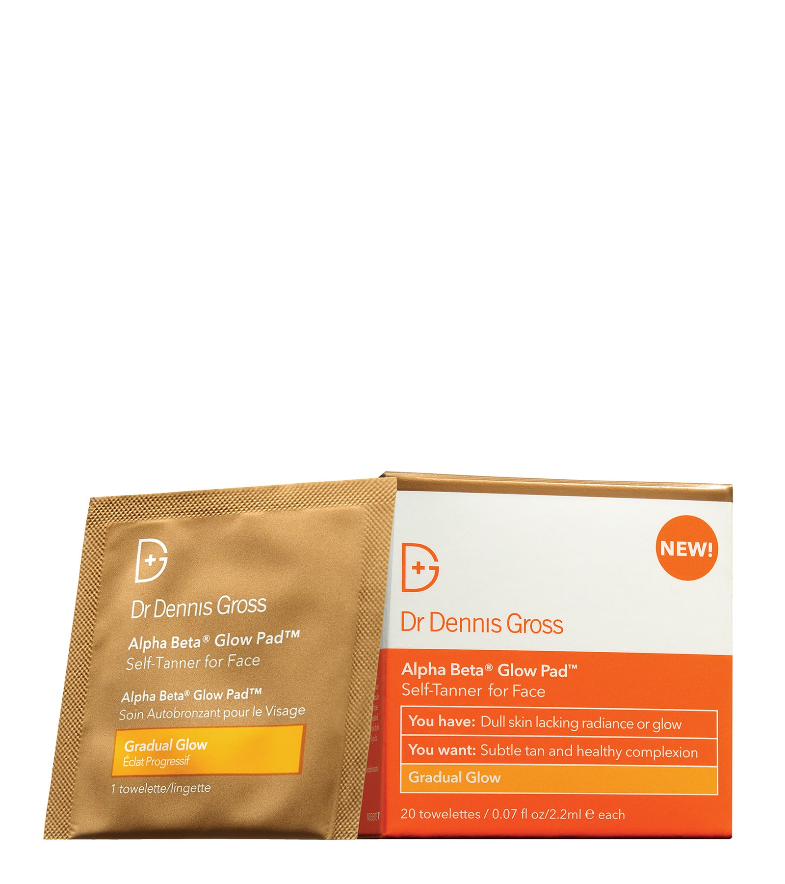 Alpha Beta® Glow Pad™ for Face Gradual Glow bus brun utan sol exfoliating peeling dr Dennis gross
