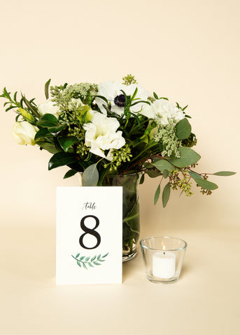 Table Numbers - Clean Greenery Design